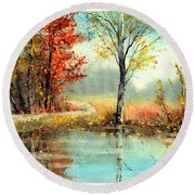 Mirror In The Lake Round Beach Towel