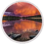 Mirror Lake Sunet Round Beach Towel