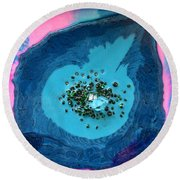Miss Blue Round Beach Towel
