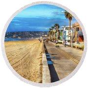 Mission Beach Boardwalk Round Beach Towel