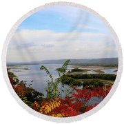 Mississippi River In The Fall Round Beach Towel