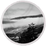Round Beach Towel featuring the photograph Misty Mountain  by Pete Federico