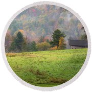 Round Beach Towel featuring the photograph Misty New England Autumn by Bill Wakeley
