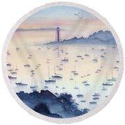 Misty Sunrise Marblehead Harbor Round Beach Towel