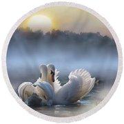 Misty Swan Lake Round Beach Towel