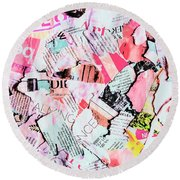 Mixed Media Messages Round Beach Towel