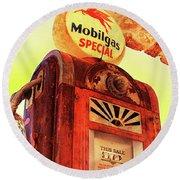 Mobilgas Special - Vintage Wayne Pump Round Beach Towel