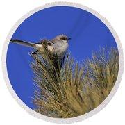 Mockingbird In White Pine Round Beach Towel