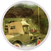 Model T In Barbados Round Beach Towel