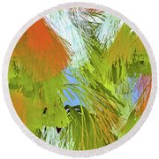Modern Art   Tropical Flare  Abstract Round Beach Towel