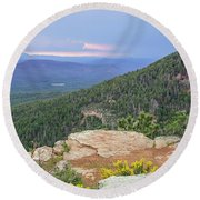 Round Beach Towel featuring the photograph Mogollon Rim Sunset by Dawn Richards