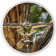 Momma Great Horned Owl Blasting Out Of The Nest Round Beach Towel
