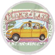 Mom's Taxi Round Beach Towel