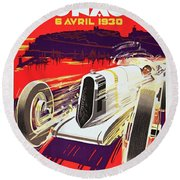 Monaco Grand Prix 1930, Vintage Racing Poster Round Beach Towel