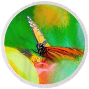 Monarch Butterfly Beautiful Smudge Round Beach Towel