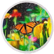 Monarch Butterfly Colored Pencil Round Beach Towel