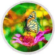 Monarch Butterfly Impasto Colorful Round Beach Towel