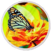 Monarch Butterfly Van Gogh Style Round Beach Towel