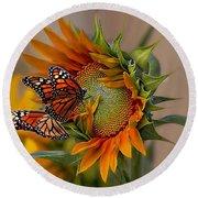 Monarchs And Sunflower Round Beach Towel