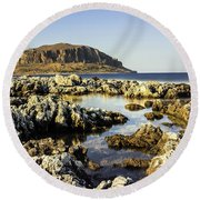 Monemvasia Rock Round Beach Towel