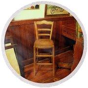 Round Beach Towel featuring the photograph Monet's Art Studio Chair by Craig J Satterlee
