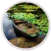 Monet's Gardeners Boat Round Beach Towel