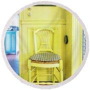 Monet's Kitchen Yellow Chair Round Beach Towel
