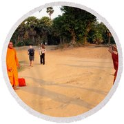 Monks At Ankgor Wat, Cambodia Round Beach Towel
