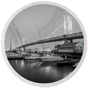 Monochrome Marina  Round Beach Towel