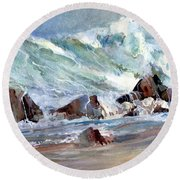 Monster Waves Round Beach Towel
