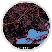 Montpellier City Map Round Beach Towel