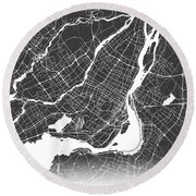 Montreal Map Black And White Round Beach Towel