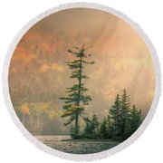 Round Beach Towel featuring the photograph Moody Autumn Morning On Moosehead Lake by Dan Sproul