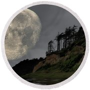 Round Beach Towel featuring the photograph Moon And Beach by Bob Cournoyer