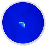 Moon In A Daytime Sky Round Beach Towel