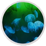 Moon Jellyfish - Blue And Green Round Beach Towel