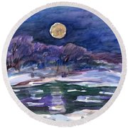 Moon Landscape Round Beach Towel