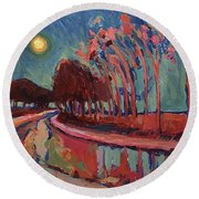 Moon Night At The Canal Round Beach Towel