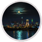 Moon Over Cleveland  Round Beach Towel