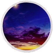 Moon Sky Round Beach Towel