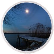 Round Beach Towel featuring the photograph Moonlight Over The Lake by Davor Zerjav