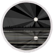Moonrise In Black And White Round Beach Towel