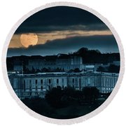 Moonrise Over The National Library Of Wales Round Beach Towel