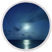 Moonrise Over The Sea Round Beach Towel