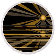 Moonshine In Black And Gold Round Beach Towel