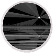 Moonshine In Black And White Round Beach Towel
