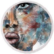 Moonshine-woman Abstract Art Round Beach Towel