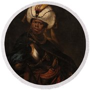 Moor Wearing A Turban And Armour Round Beach Towel