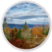 Mooselookmeguntic Lake Fall Colors Round Beach Towel