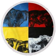Mooving Out Of Our Land Round Beach Towel